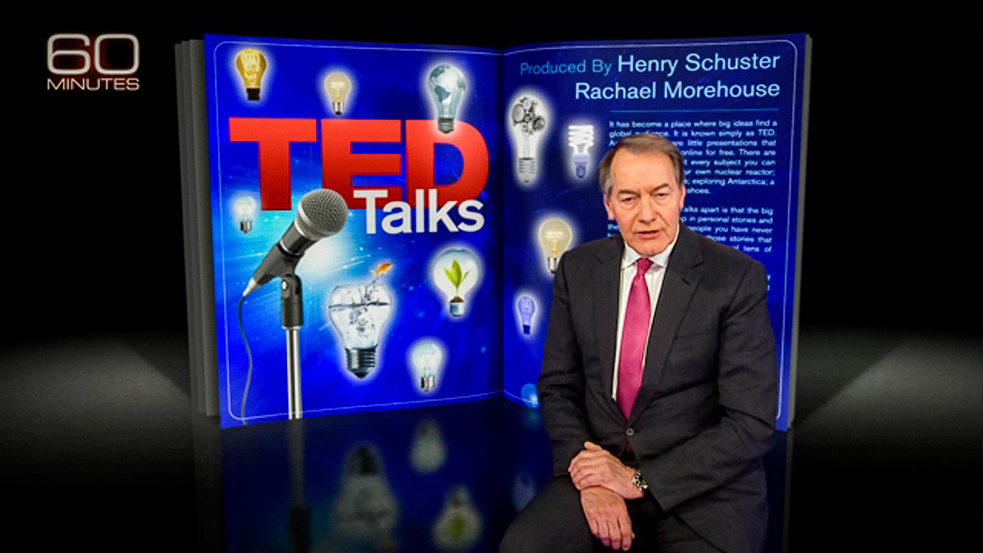 """Charlie Rose introduces the segment """"TED Talks"""" on 60 Minutes on April 19. The segment contained clips of 50 TED Talks. Watch them all below."""