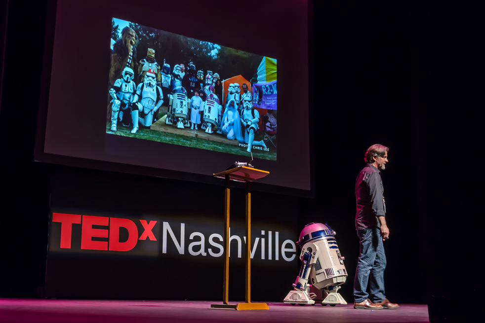 From Kermit to R2D2. Chris Lee, who is a part of the Star Wars costuming group, The 501st Legion, speaks at TEDxNashville. Photo: TEDxNashville