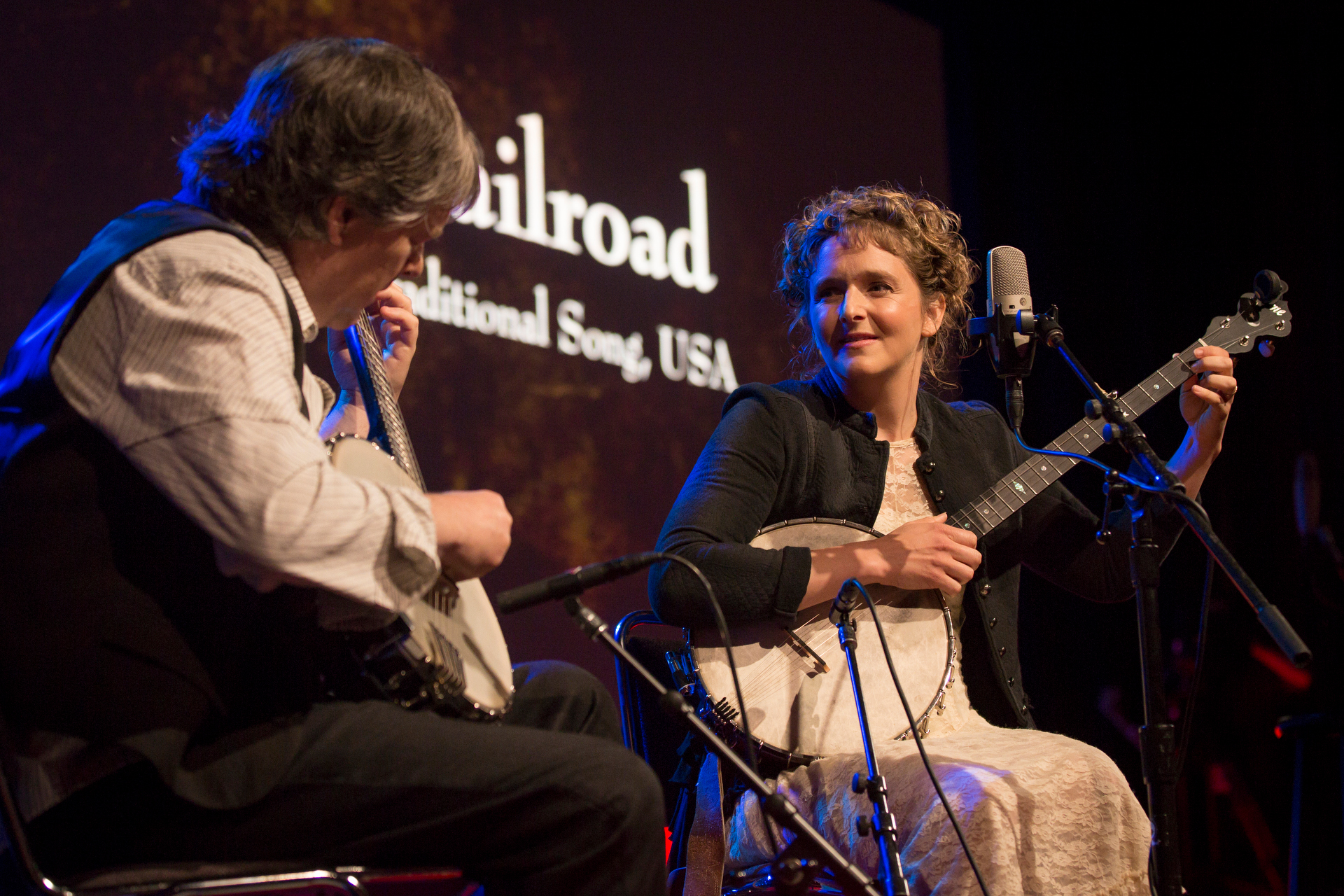 Béla Fleck and Abigail Washburn perform at TEDWomen2015 - Momentum, Session 3, May 28, 2015, Monterey Conference Center, Monterey, California, USA. Photo: Marla Aufmuth/TED