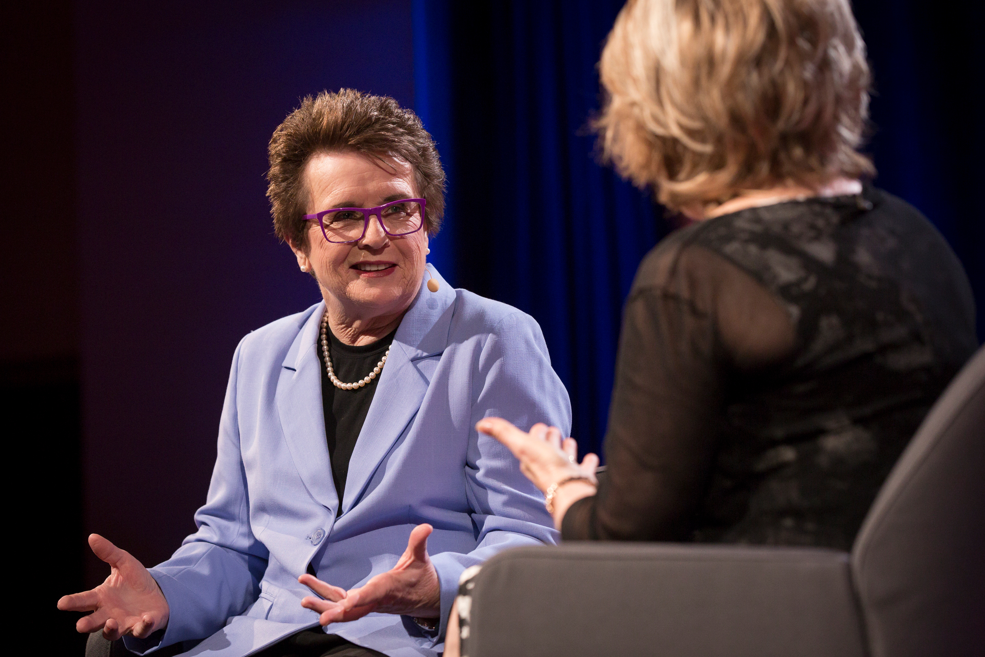 Billie Jean King speaks with host Pat Mitchell at TEDWomen2015 - Momentum, Session 4, May 28, 2015, Monterey Conference Center, Monterey, California, USA. Photo: Marla Aufmuth/TED