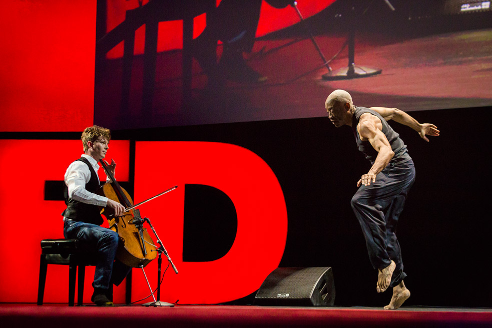 Legendary dancer and Bill T. Jones created a structured improvisation with cellist Joshua Roman and vocalist Somi at TED2015. They had less than two days to create this talk. Photo: Bret Hartman