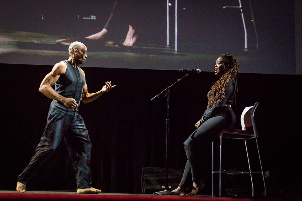 Bill T. Jones coaxes vocalist Somi during their performance at TED2015. The group created a language to give the piece both structure and spontaneity. Photo: Bret Hartman