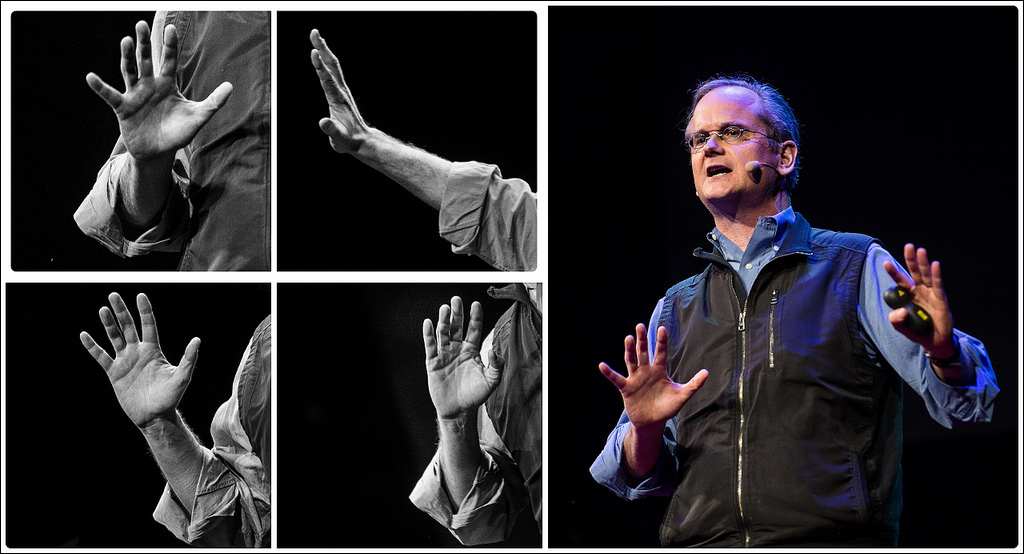 TED favorite Larry Lessig spoke at TEDxVilnius, and this image captures his masterful use of body language to punctuate his words. Photo: Jurga Anusauskiene/TEDxVilnius