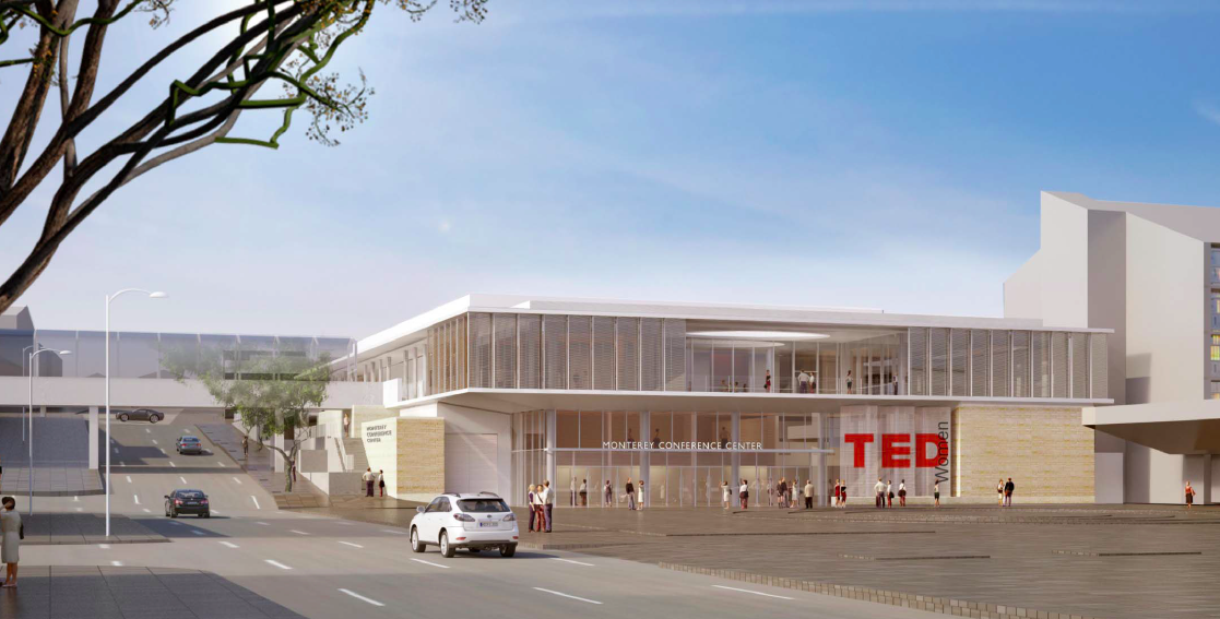 A rendering of what the renovated Monterey Conference Center will look like. It won't have the original theater that housed TED, but will be brighter and more open. Image: Courtesy of Monterey Conference Center
