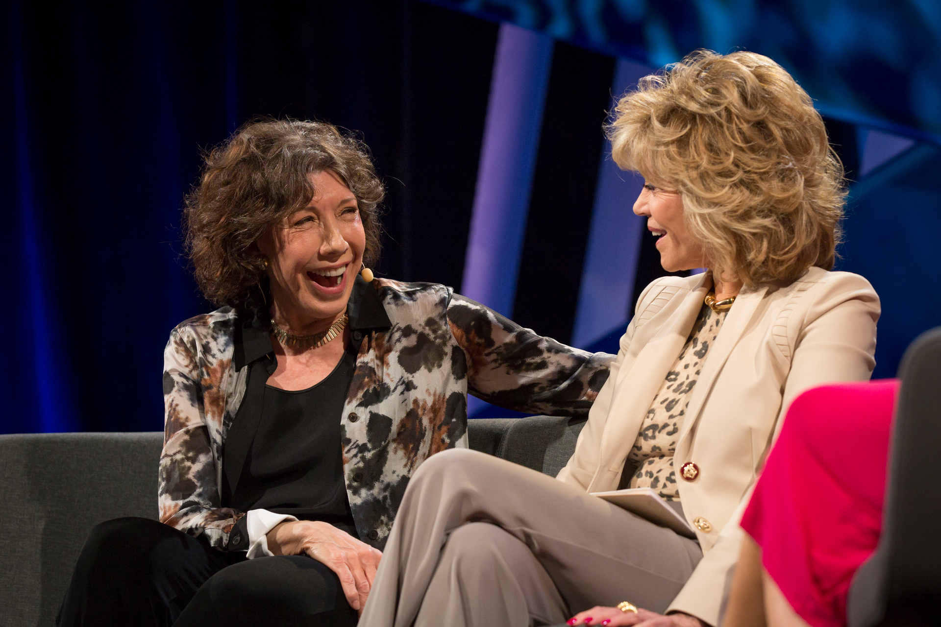 Lili Tomlin and Jane Fonda speak at TEDWomen2015 - Momentum, Session 6 May 29, 2015, Monterey Conference Center, Monterey, California, USA. Photo: Marla Aufmuth/TED
