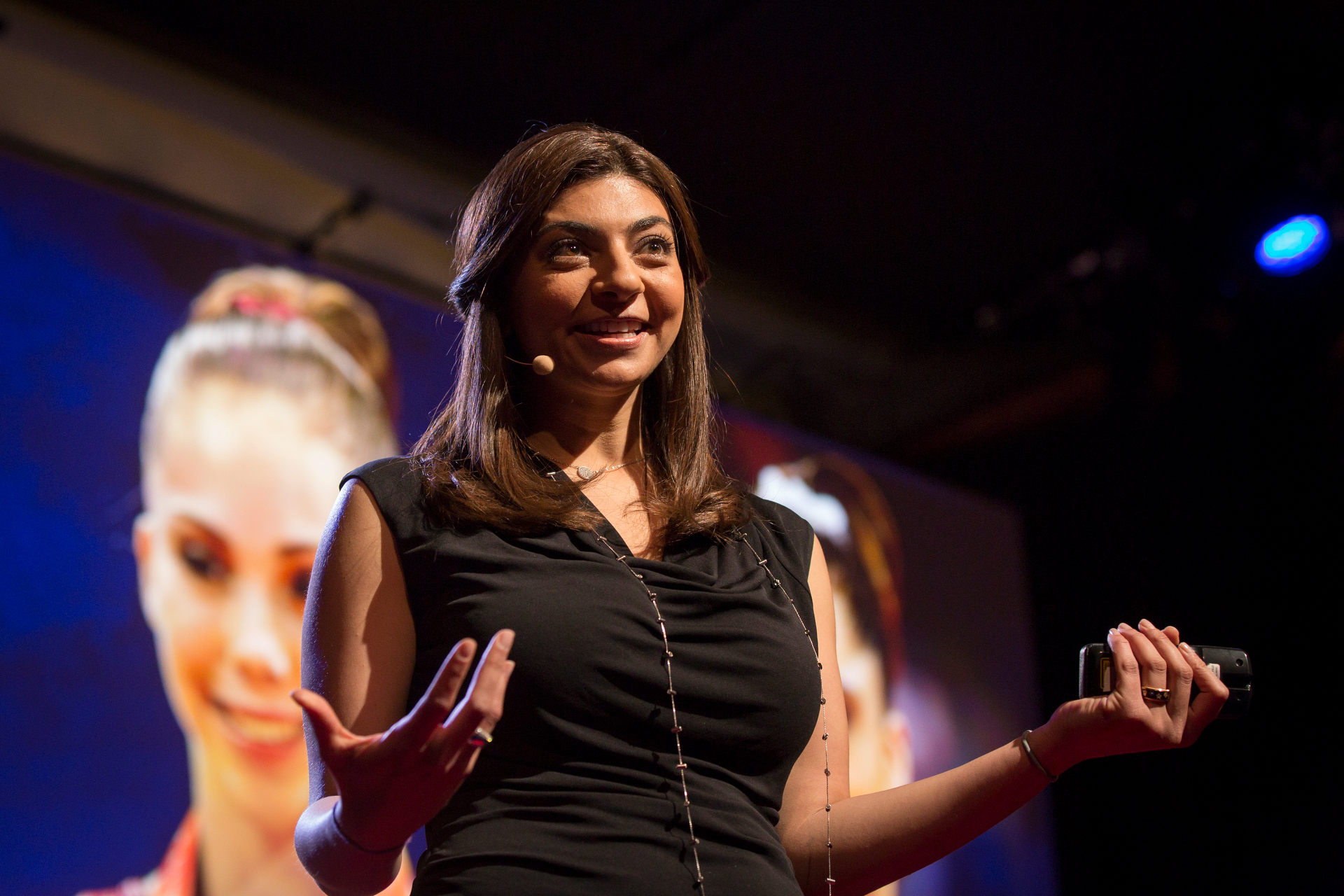 Rana El Kaliouby speaks at TEDWomen2015 - Momentum, Session 1, May 28, 2015, Monterey Conference Center, Monterey, California, USA. Photo: Marla Aufmuth/TED