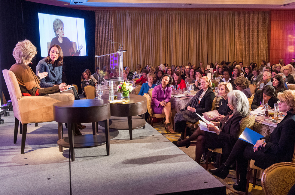 Lesley Stahl interviews Margaret Hamburg of the FDA during the Women's Health Summit in 2014. Notice Paula Johnson in the front row. Photo: Brigham and Women's Hospital