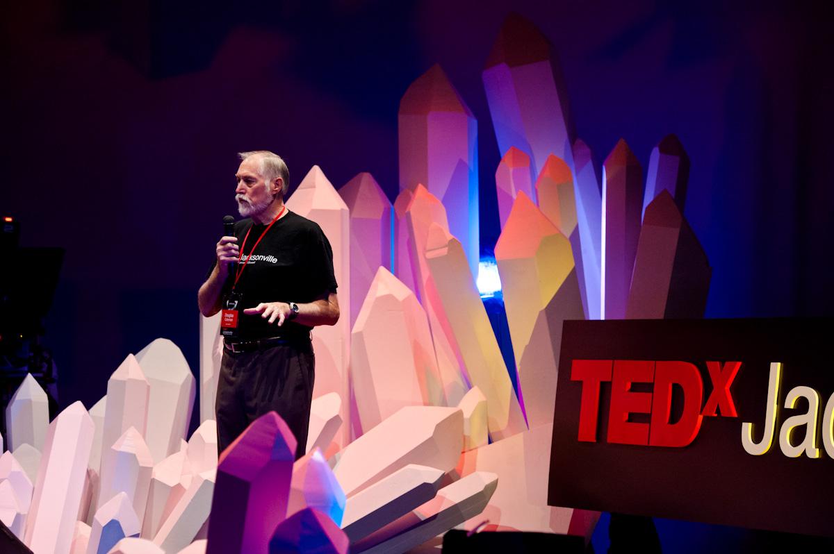 Doug Coleman on a very creative TEDxJackson stage. Photo: Courtesy of TEDxJackson