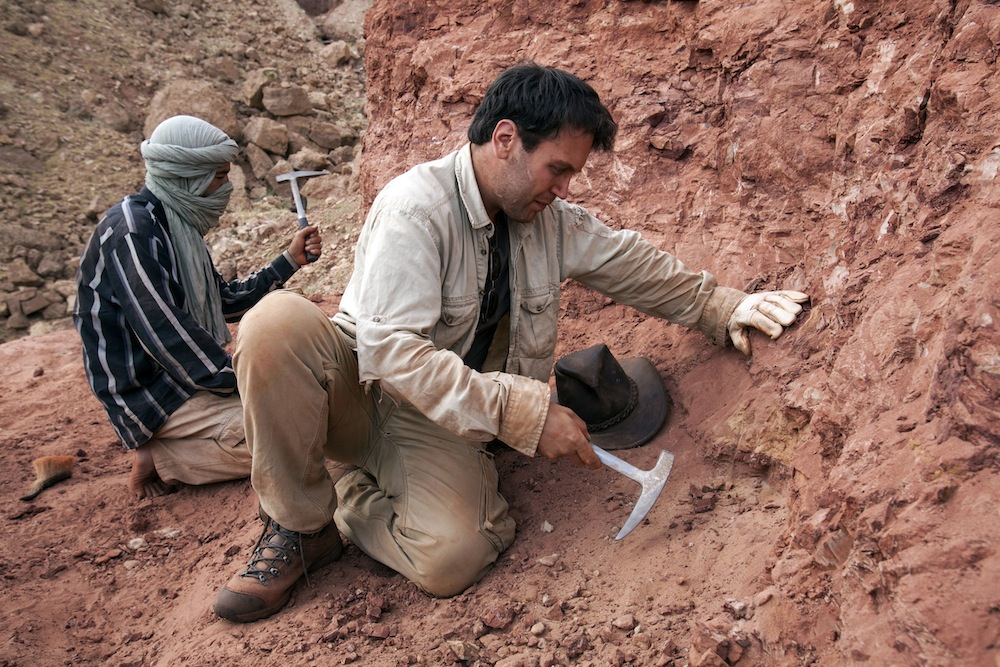Nizar Ibrahim splits rock at an excavation site for spinosaurus. He has been looking for the dinosaur since he was a child. Photo:  Nanni Fontana, National Geographic Italy