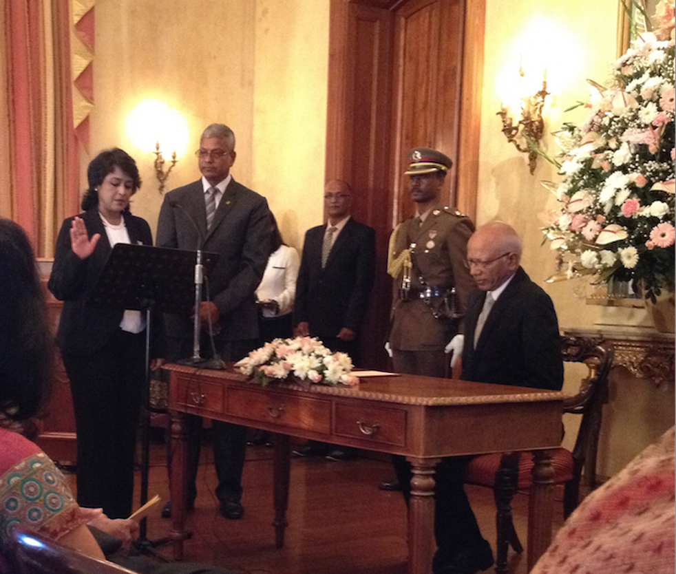 Ameenah Gurib-Fakim is sworn in as president of Mauritius on Friday, June 5, 2015. Photo: Courtesy of Ameenah Gurib-Fakim
