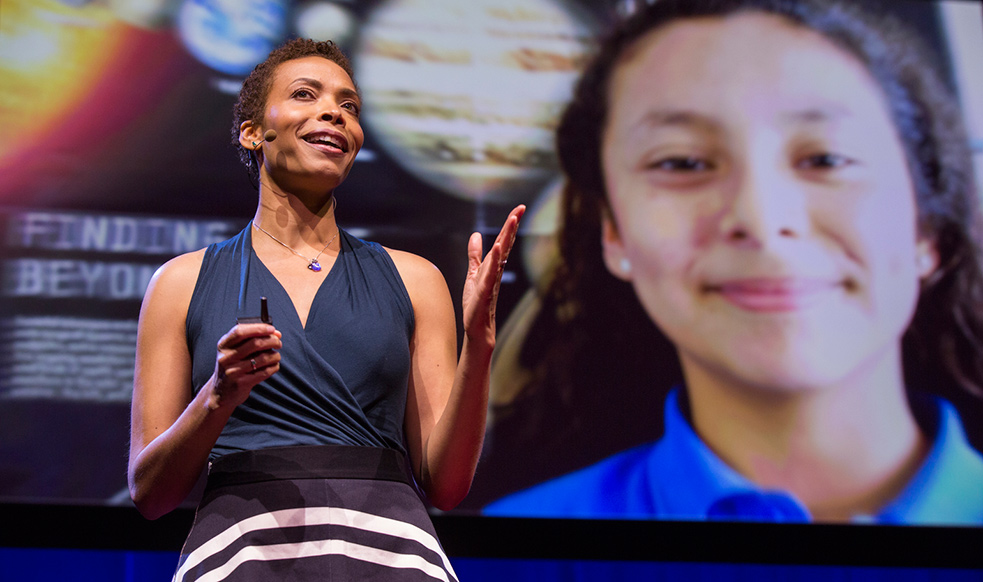 Aomawa Shields is an astrobiologist who studies the potential for life on other planets. She also uses her training as an actor to teach middle school girls about the joys of astronomy. Photo: Ryan Lash/TED