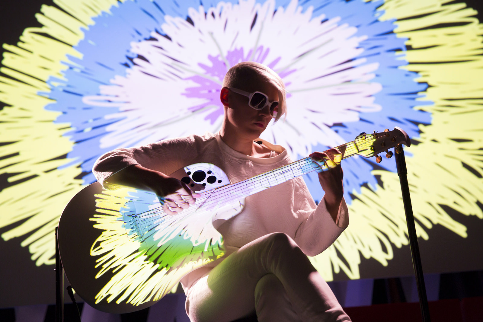 Kaki King's new show features project mapping — and aims to make her guitar into a living entity. Here's how she uses littleBits in the show. Photo: Marla Aufmuth/TED