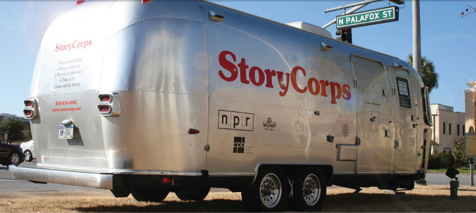 StoryCorps has two Airstream trailers that travel across the country, parking for four to five weeks in a town before moving on. Photo: Courtesy of StoryCorps