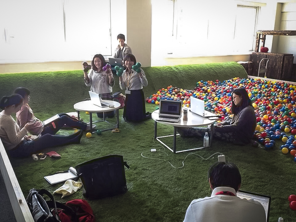 A snowboarder, a forklift operator, an exchange student and more: The TEDxSapporo translation team gets together for three hour meetings — in a playground-themed space — to work on translations. Photo: Courtesy of Ayana Ishiyama