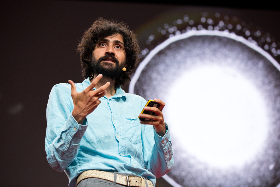 Manu Prakash invents ways to make scientific equipment affordable for all. At the TED Fellows Retreat, he shared the decade of thinking that became his water computer — and shared that the audience could make it at home. Photo: Ryan Lash/TED