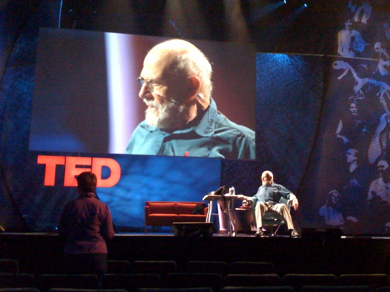 Oliver Sacks rehearsing onstage at TED