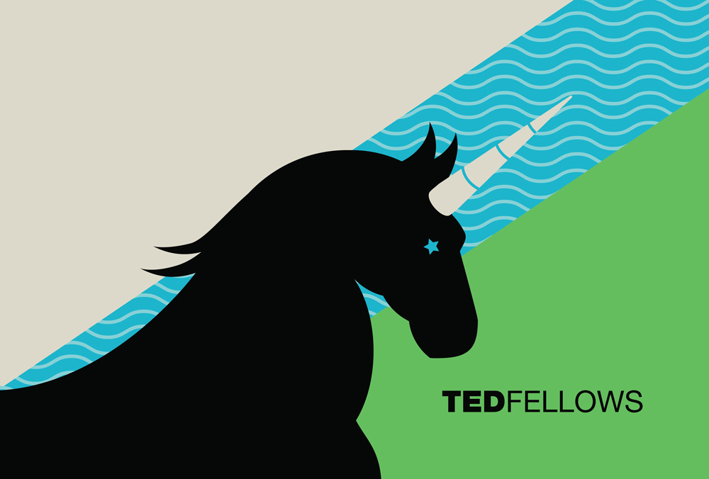 """Boy Scouts always have flags, so we designed a custom flag for the TED Fellows Retreat featuring a unicorn. The day of talks opened ceremoniously with Tom Rielly marching onstage and waving it."" Image: Safwat Saleem"