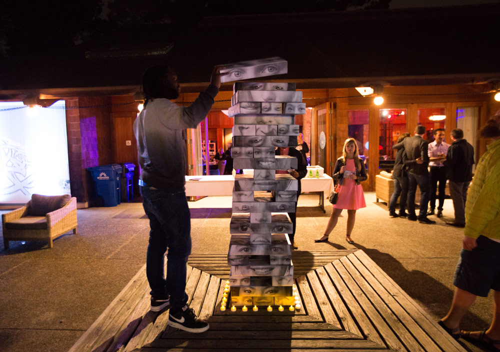 """Staying true to the camp spirit, we wanted to have old-school games that attendees could play. TED Fellow and designer Sarah Sandman came up with the giant Jenga idea: huge blocks made out of photos of the Fellows."" Photo: Sarah Sandman"