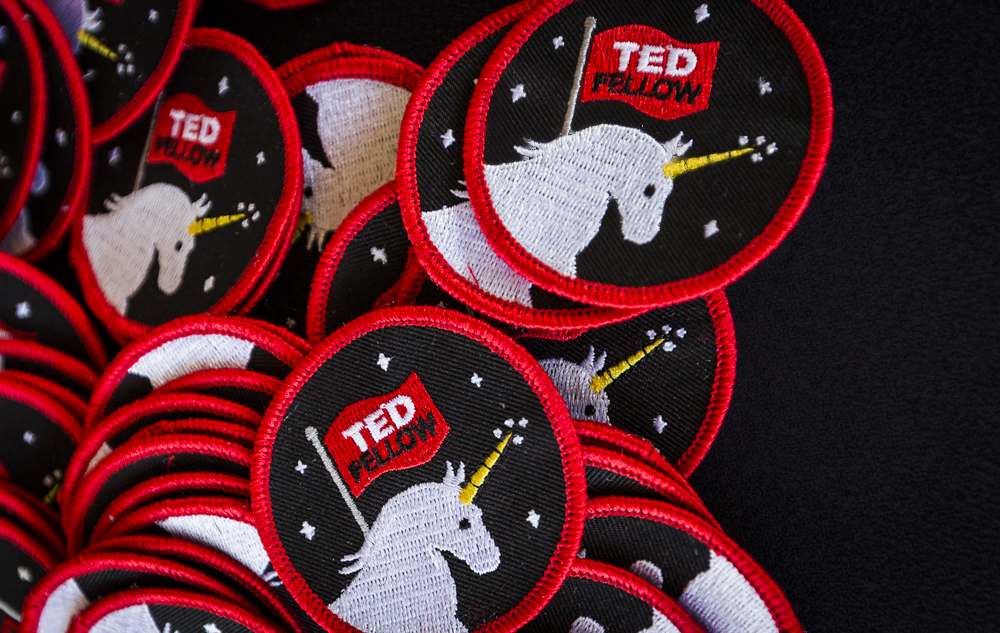 """I designed an iron-on, embroidered patch featuring the TED Fellows Retreat mascot -- the unicorn."" Photo: Bret Hartman/TED"