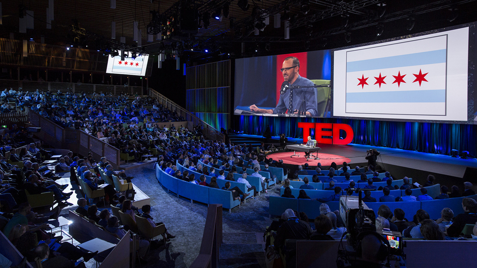 After a disastrous rehearsal in front of middle schoolers, Roman Mars decided not to give the traditional stand-on-the-red-carpet TED Talk. Instead, he brought a table and all his radio gear — and gave a live radio show at TED2015. Photo: James Duncan Davidson/TED