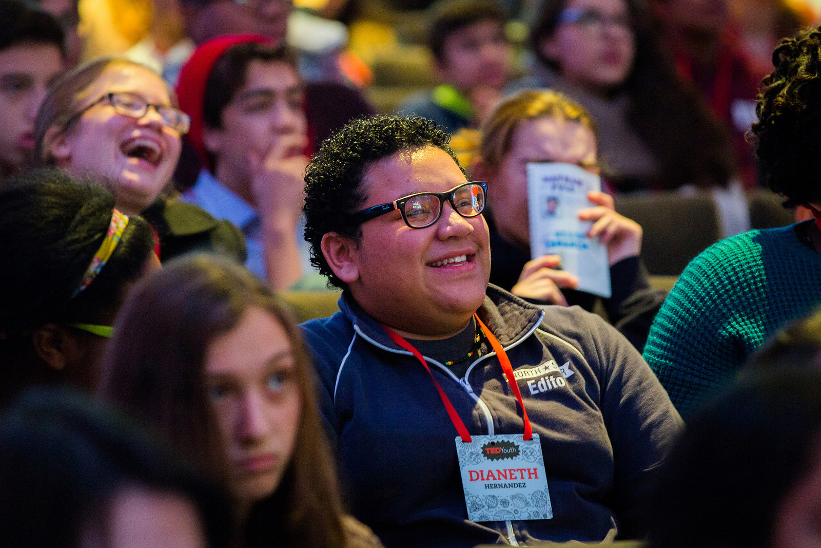 """Leeches for medicine? The TEDYouth 2014 audience reacts to a talk from the self-named """"Leech Guy,"""" Mark Siddall, a curator at the American Museum of Natural History. Photo: Ryan Lash/TED"""