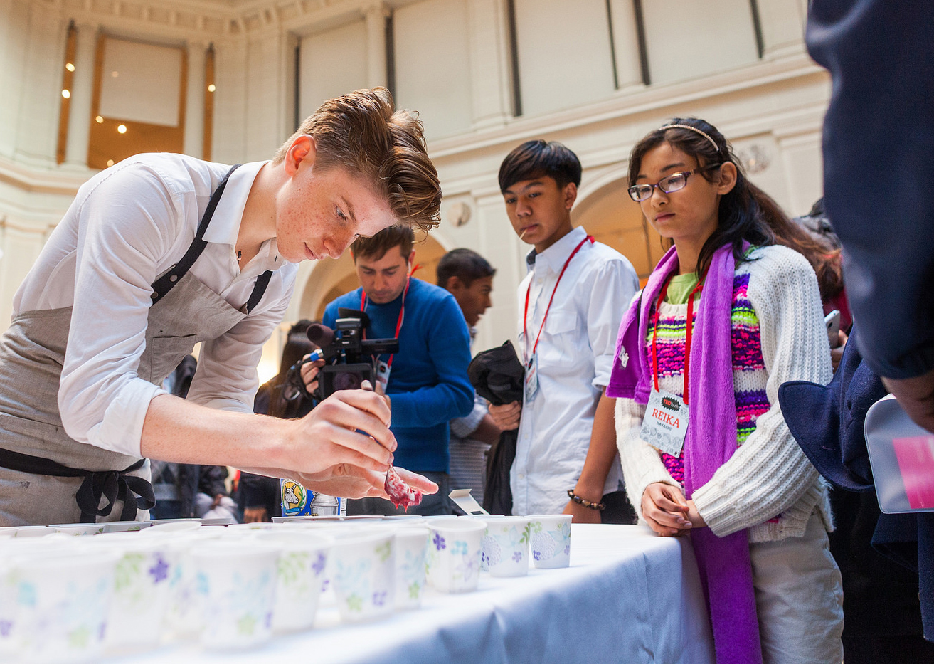 Fifteen-year-old chef Flynn McGarry plates one of his creations at TEDYouth 2014. Attendees got to taste his signature beets — which he sees as a delicious alternative to meat and fish. Photo: Ryan Lash/TED