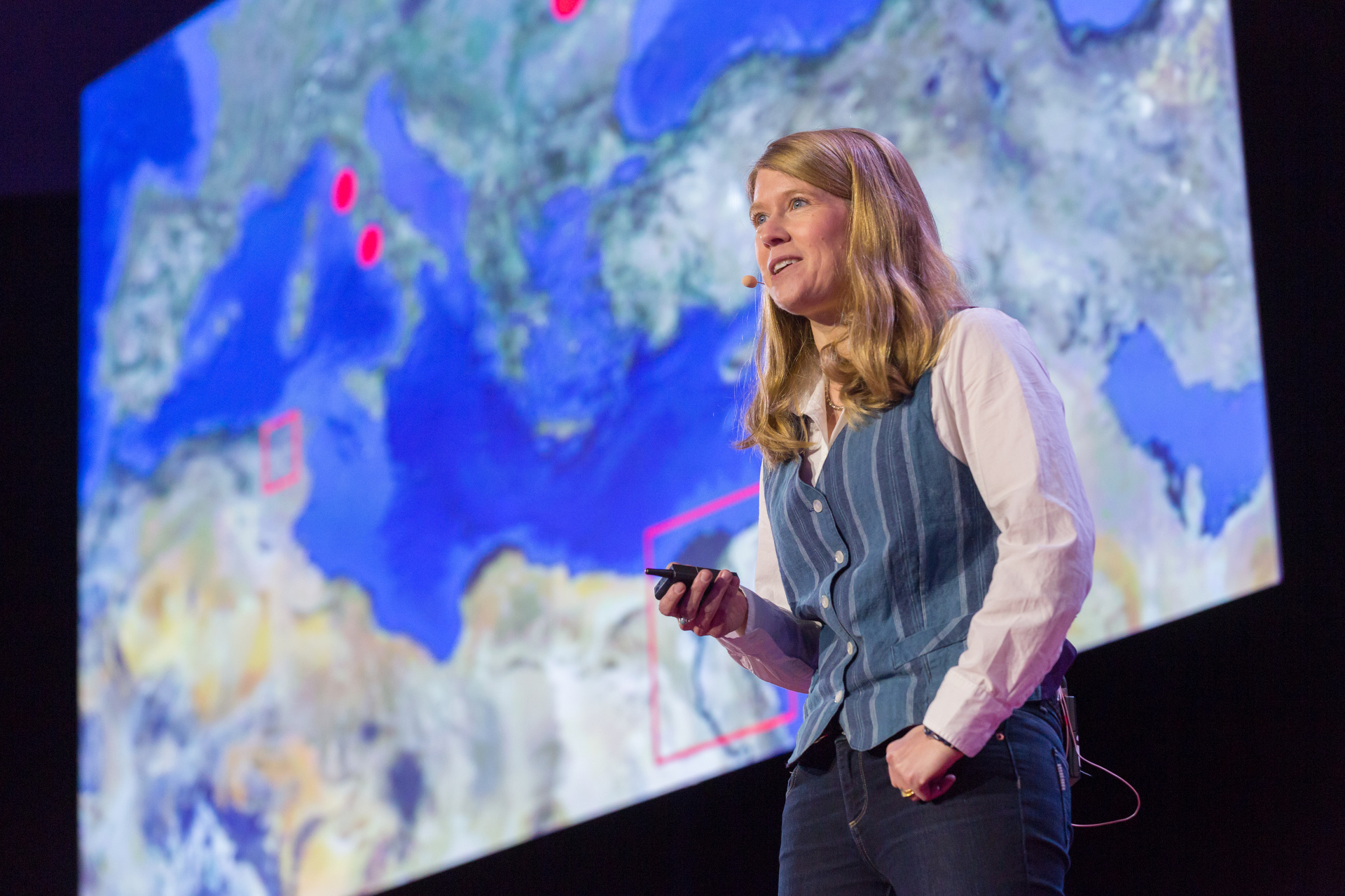 Sarah Parcak is a space archeologist, using satellite imagery to find new ancient wonders. Photo: Ryan Lash/TED