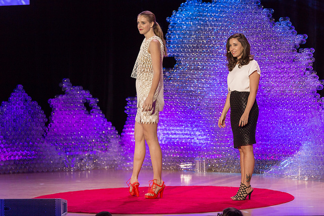 Danit Peleg shows off her creates 3D-printed fashion designs. Photo: Ryan Lash/TED