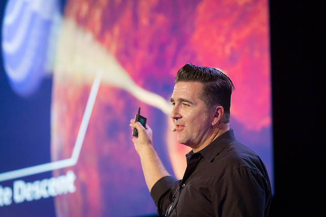 Adam Steltzner shares that when he and his team landed a rover on Mars, they had to fail again and again to get it right. Photo: Ryan Lash/TED