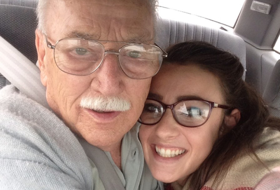 "Kara Masteller, 21, says that her grandfather James Kennicott always intimidated her when she was young. When she told him that in their StoryCorps interview, however, he laughed and said, ""I'm a pretty soft guy."" Photo: Courtesy of StoryCorps"