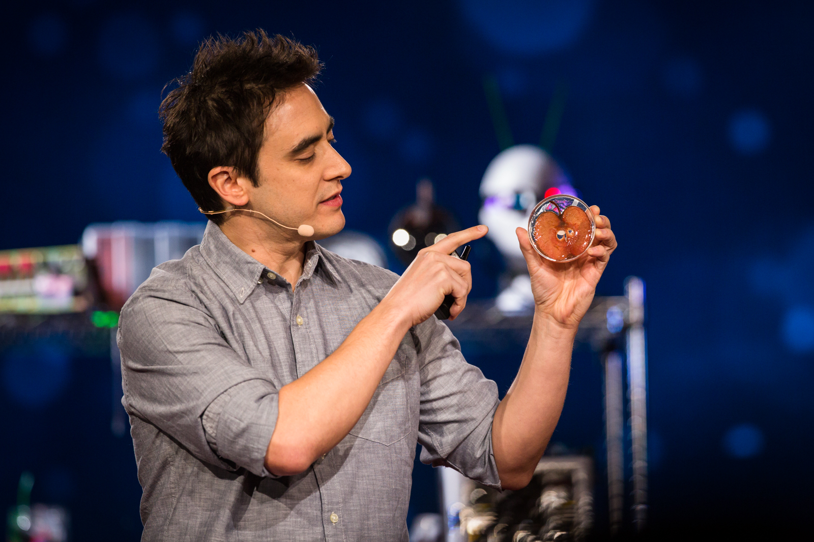 Andrew Pelling imagines growing human body parts -- using apples as scaffolding. He spoke onstage in the TED Fellows session of TED2016, February 15-19, 2016 Photo: Ryan Lash / TED