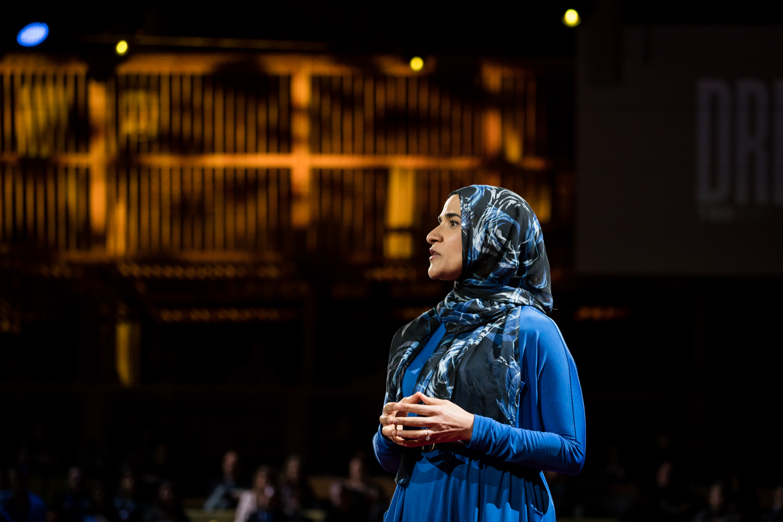 Dalia Mogahed speaks at TED2016 - Dream, February 15-19, 2016, Vancouver Convention Center, Vancouver, Canada. Photo: Bret Hartman / TED