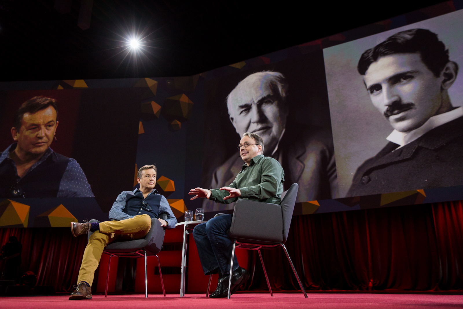 Host Chris Anderson interviews Linus Torvalds at TED2016 - Dream, February 15-19, 2016, Vancouver Convention Center, Vancouver, Canada. Photo: Bret Hartman / TED