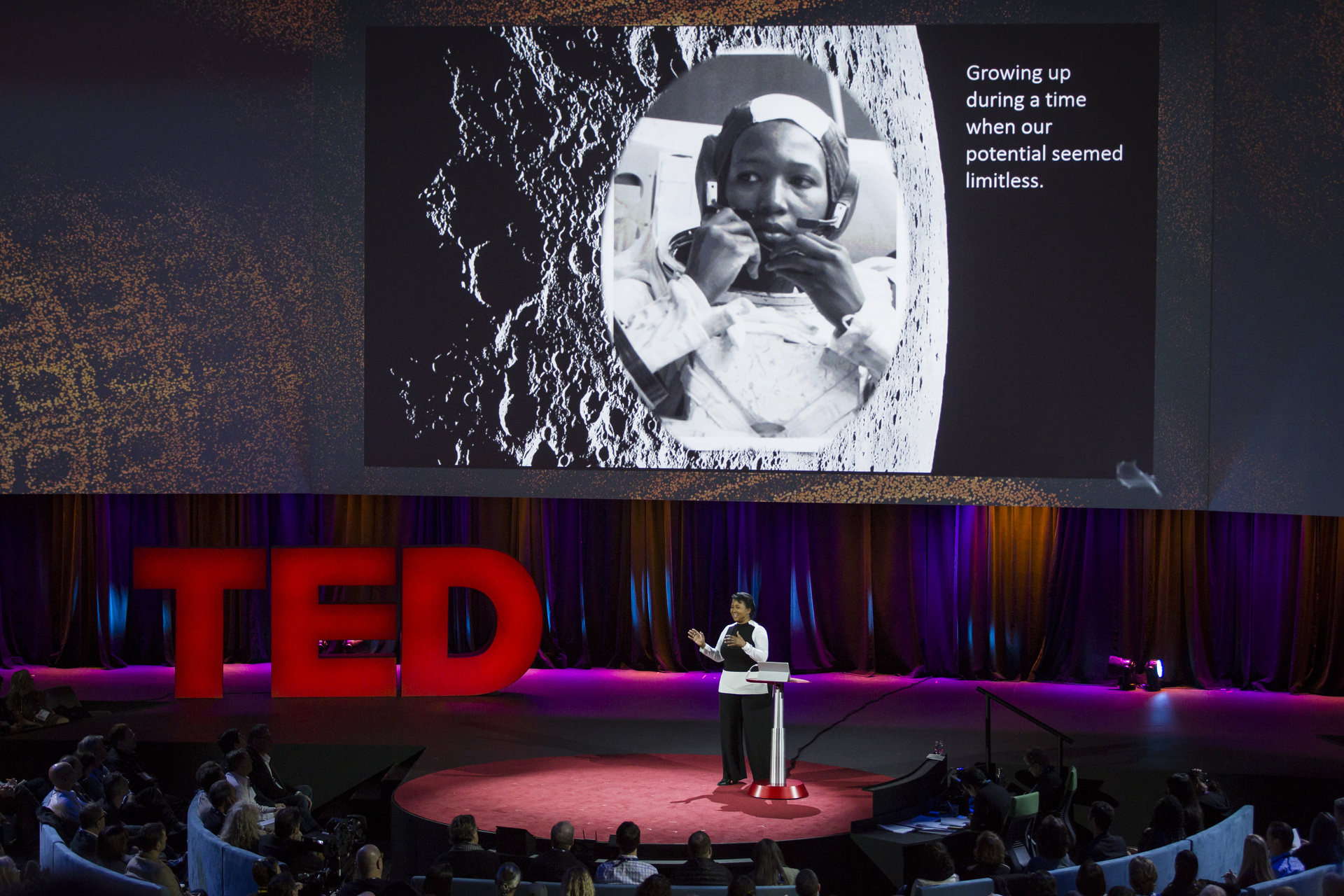 Mae Jemison is one of the many speakers at TED2016 who evoked the moonshot, calling for us to work across disciplines toward radical leaps. But there was another camp of thought at the conference, of focusing on small, specific problems. Photo: Marla Aufmuth / TED