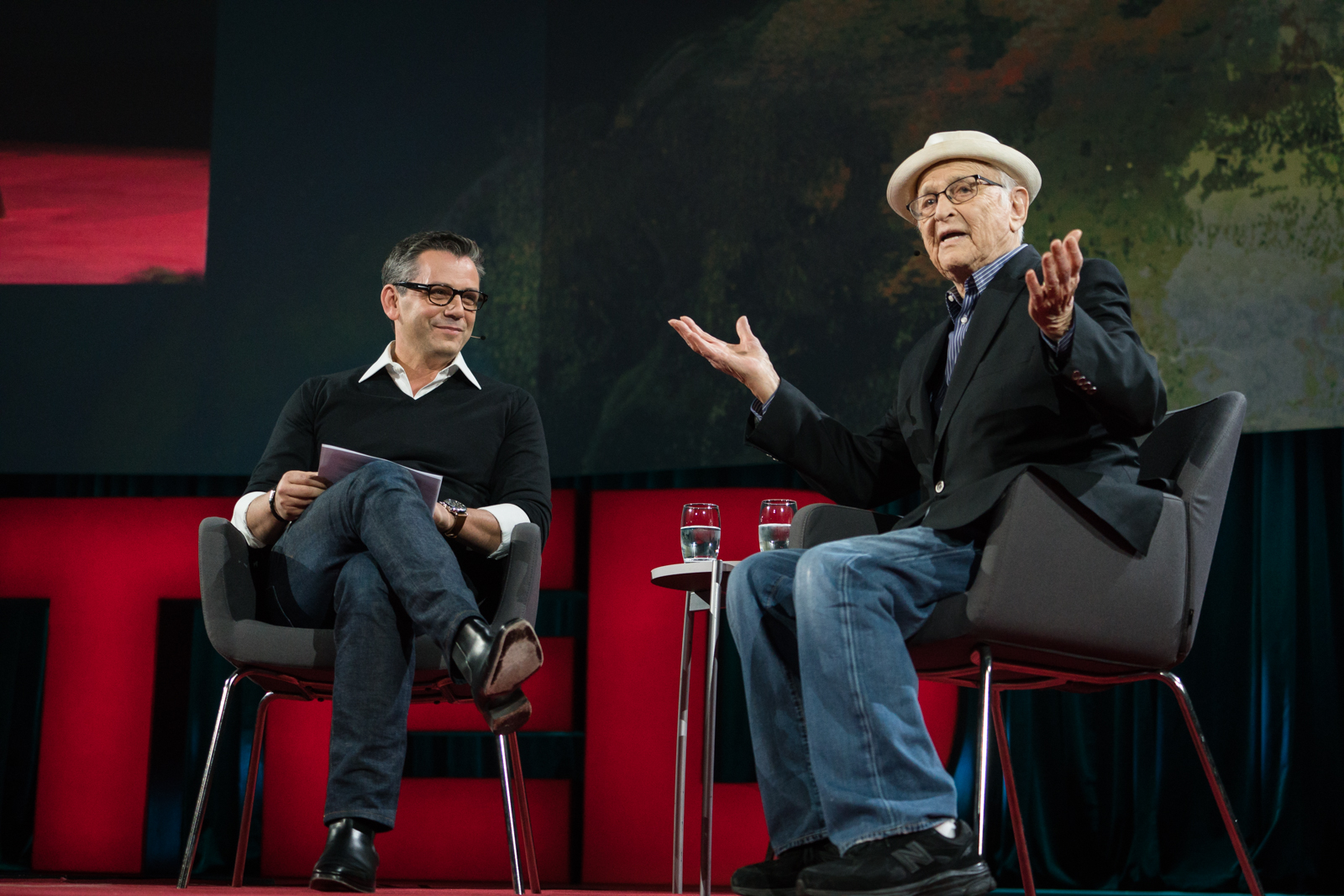 Eric Hirshberg interviews Norman Lear at TED2016 - Dream, February 15-19, 2016, Vancouver Convention Center, Vancouver, Canada. Photo: Bret Hartman / TED