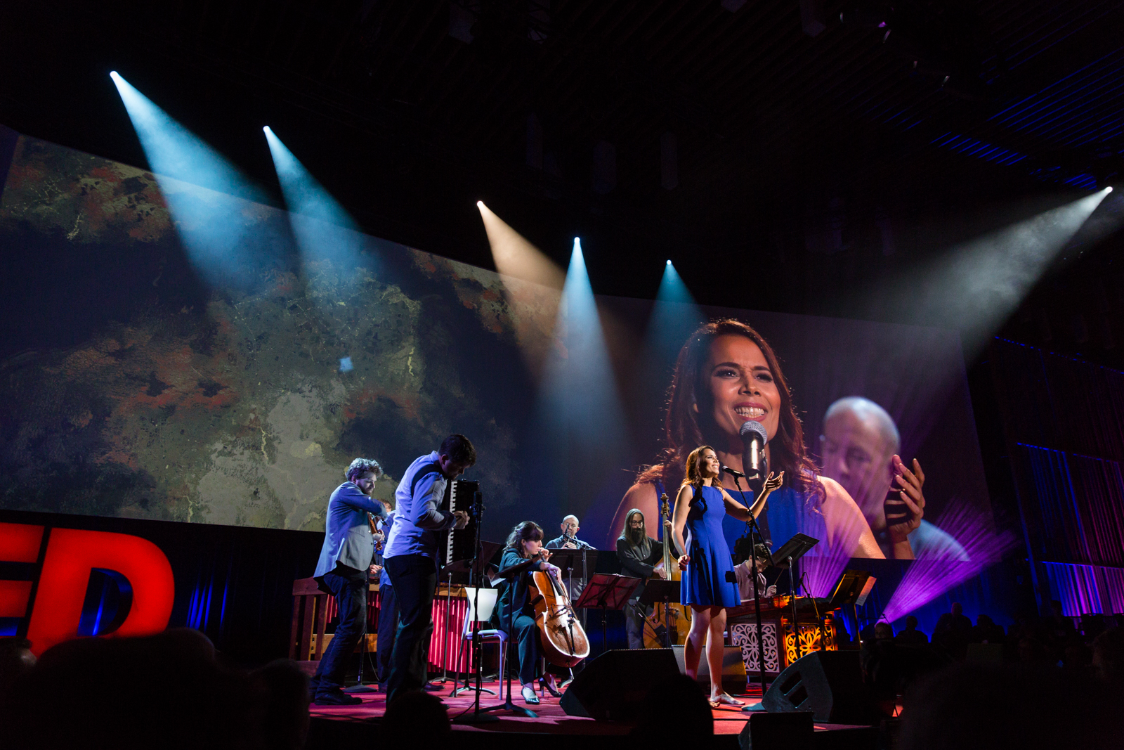 Rhiannon Giddens and Silk Road Ensemble perform at TED2016 - Dream, February 15-19, 2016, Vancouver Convention Center, Vancouver, Canada. Photo: Bret Hartman / TED