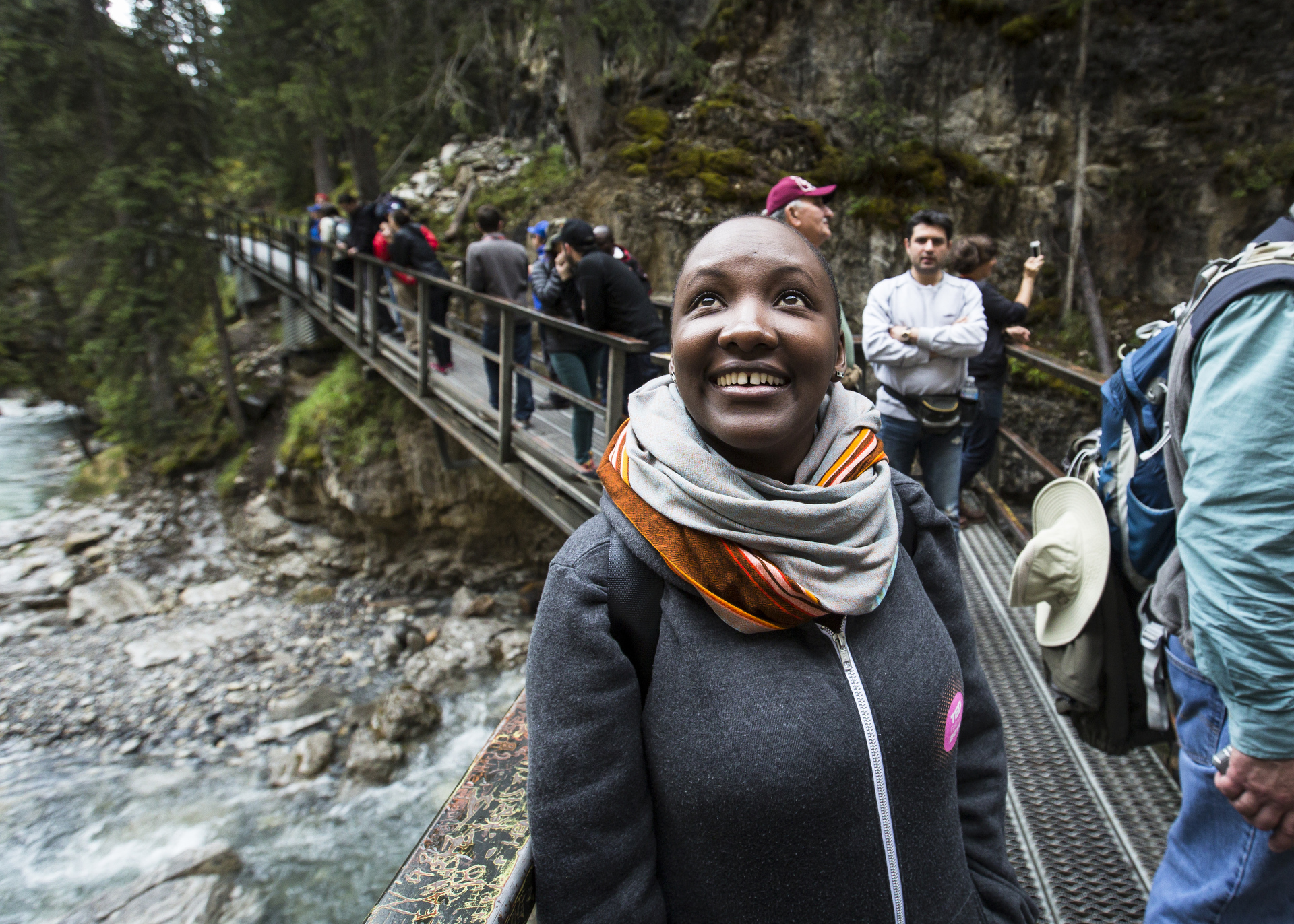 TED Fellow Majala Mlagui on a hike before TEDSummit 2016, June 26, 2016, Banff, Canada. Photo: Ryan Lash / TED