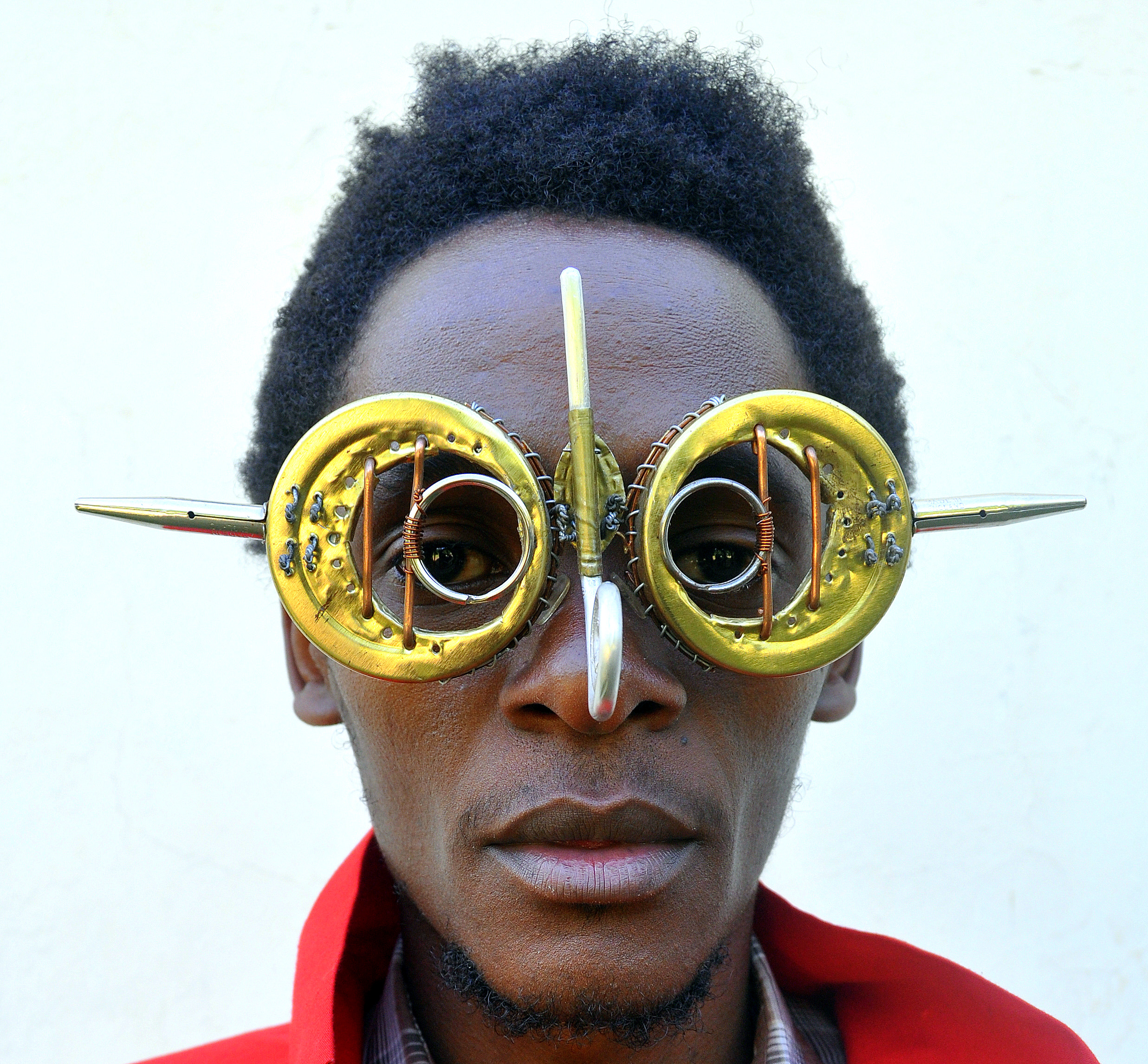 Artist Cyrus Kabiru turns recyclables and found materials into art. These spectacles are crafted from recycled materials found around his home in Nairobi, Kenya.