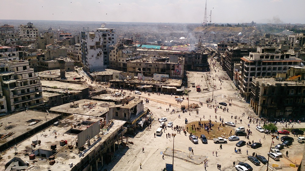 A view over the Old Square of Homs, looking towards the Old Souk, taken from the remains of Marwa and Ghassan's destroyed architecture studio. Photo: Marwa Al-Sabouni, 2016.