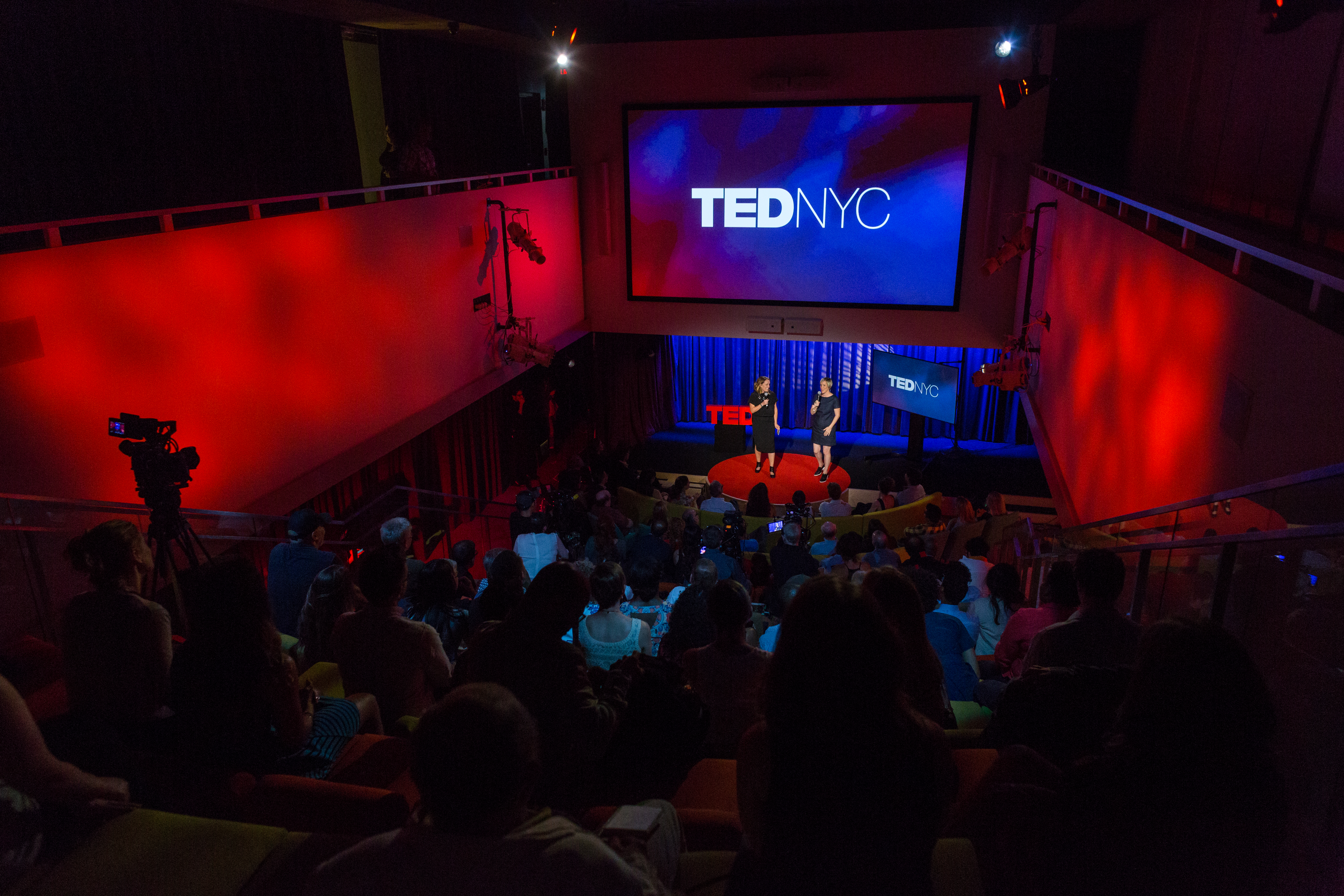 (L-R) Hosts Kelly Stoetzel and Helen Walters speak onstage at TEDNYC - The Election Edition, September 7, 2016, New York, NY. Photo: Ryan Lash / TED