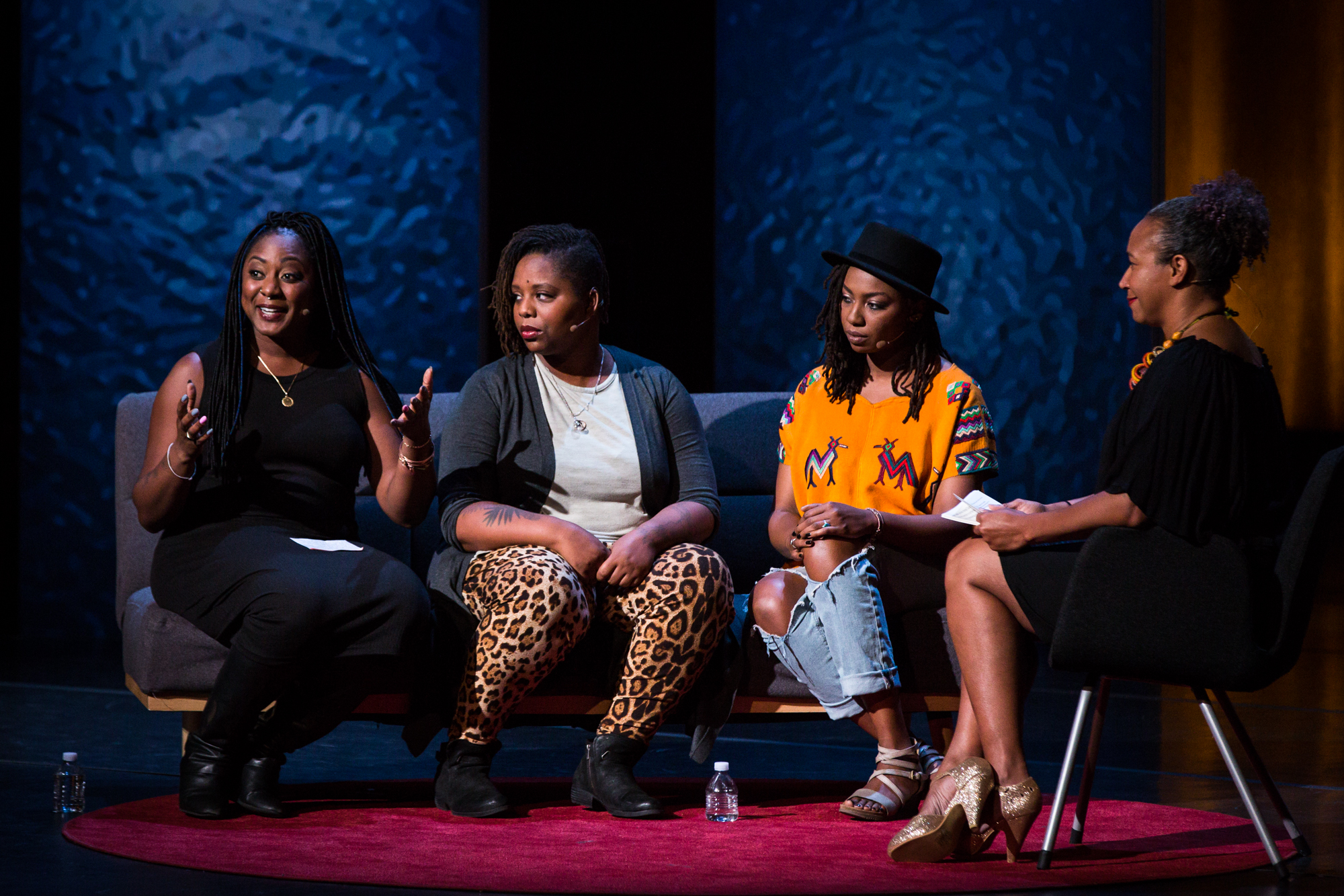 Founders of the Black Lives Matter movement -- from left, Alicia Garza, Patrisse Cullors, and Opal Tometi, interviewed onstage by TEDWomen cohost Mia Birdsong at TEDWomen 2016 in San Francisco. Photo: Marla Aufmuth / TED