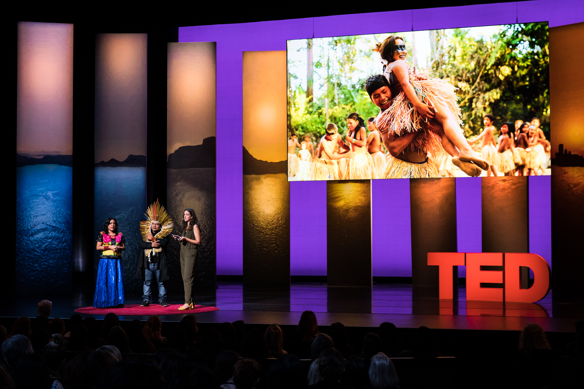 Chief Tashka and Laura Soriano Yawanawa at TEDWomen 2016 - It's About Time, October 26-28, 2016, Yerba Buena Centre for the Arts, San Francisco, California. Photo: Marla Aufmuth / TED