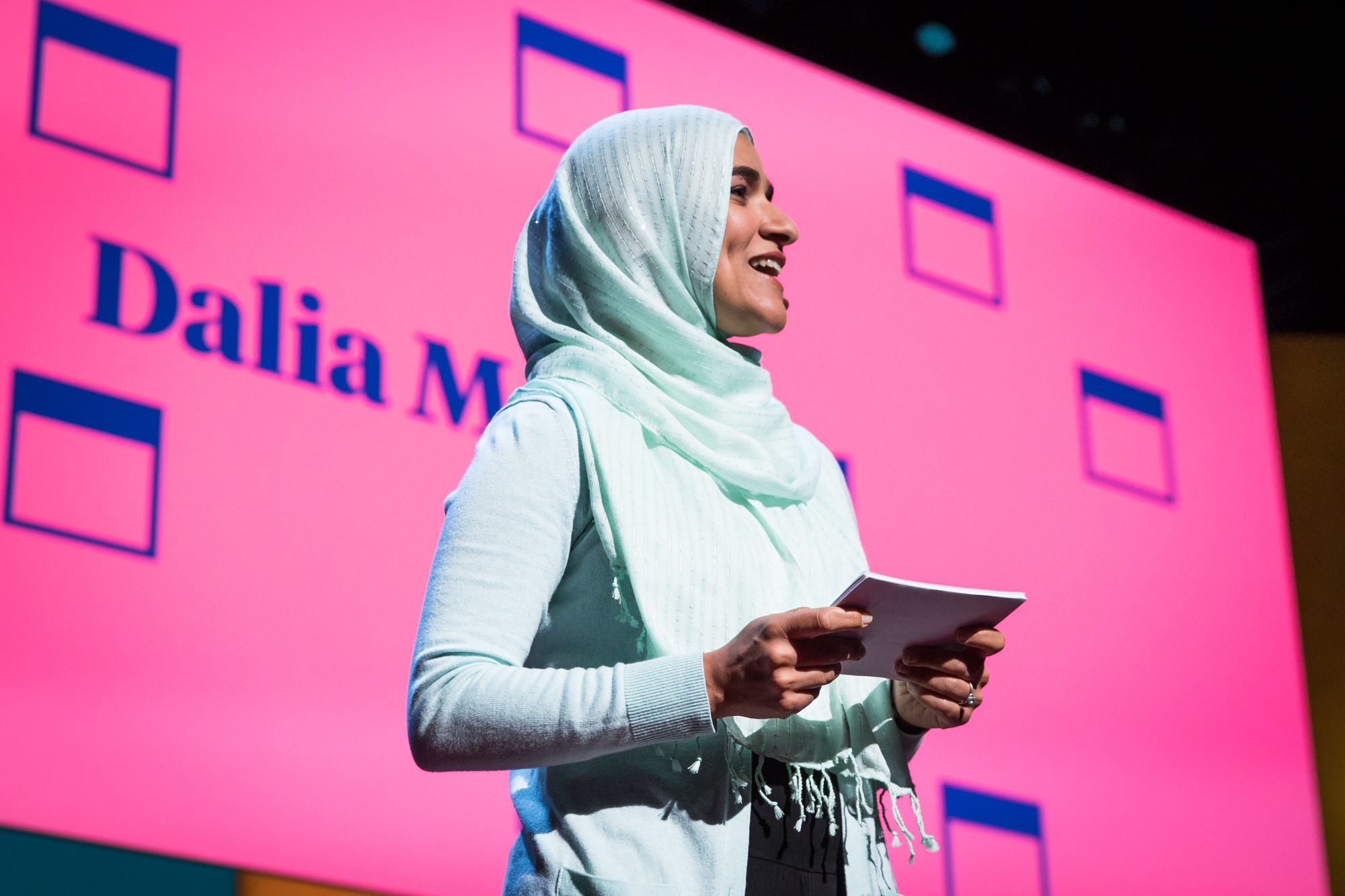 Host Dalia Mogahed at TEDWomen 2016 - It's About Time, October 26-28, 2016, Yerba Buena Centre for the Arts, San Francisco, California. Photo: Marla Aufmuth / TED