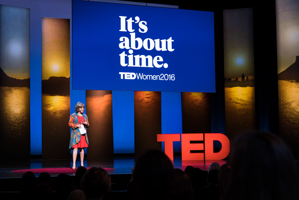 Host Pat Mitchell at TEDWomen 2016 - It's About Time, October 26-28, 2016, Yerba Buena Centre for the Arts, San Francisco, California. Photo: Marla Aufmuth / TED