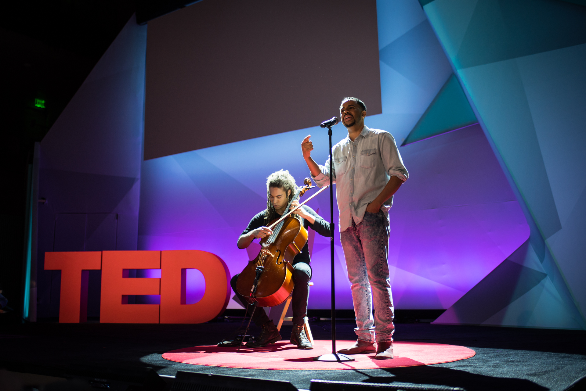 Spoken word artist Ise Lyfe and cellist Michael Feckses performing at TED@IBM salon - Spark, November 16, 2016, San Francisco Jazz, San Francisco, California. Photo: Russell Edwards/TED
