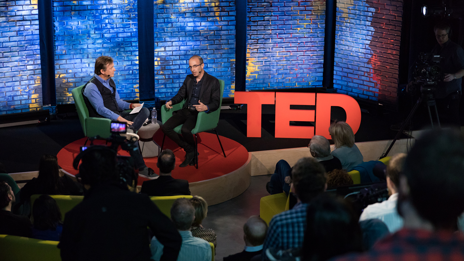 Yuval Harari (right) in conversation with TED's Chris Anderson at our New York theater. Photo: Dian Lofton / TED