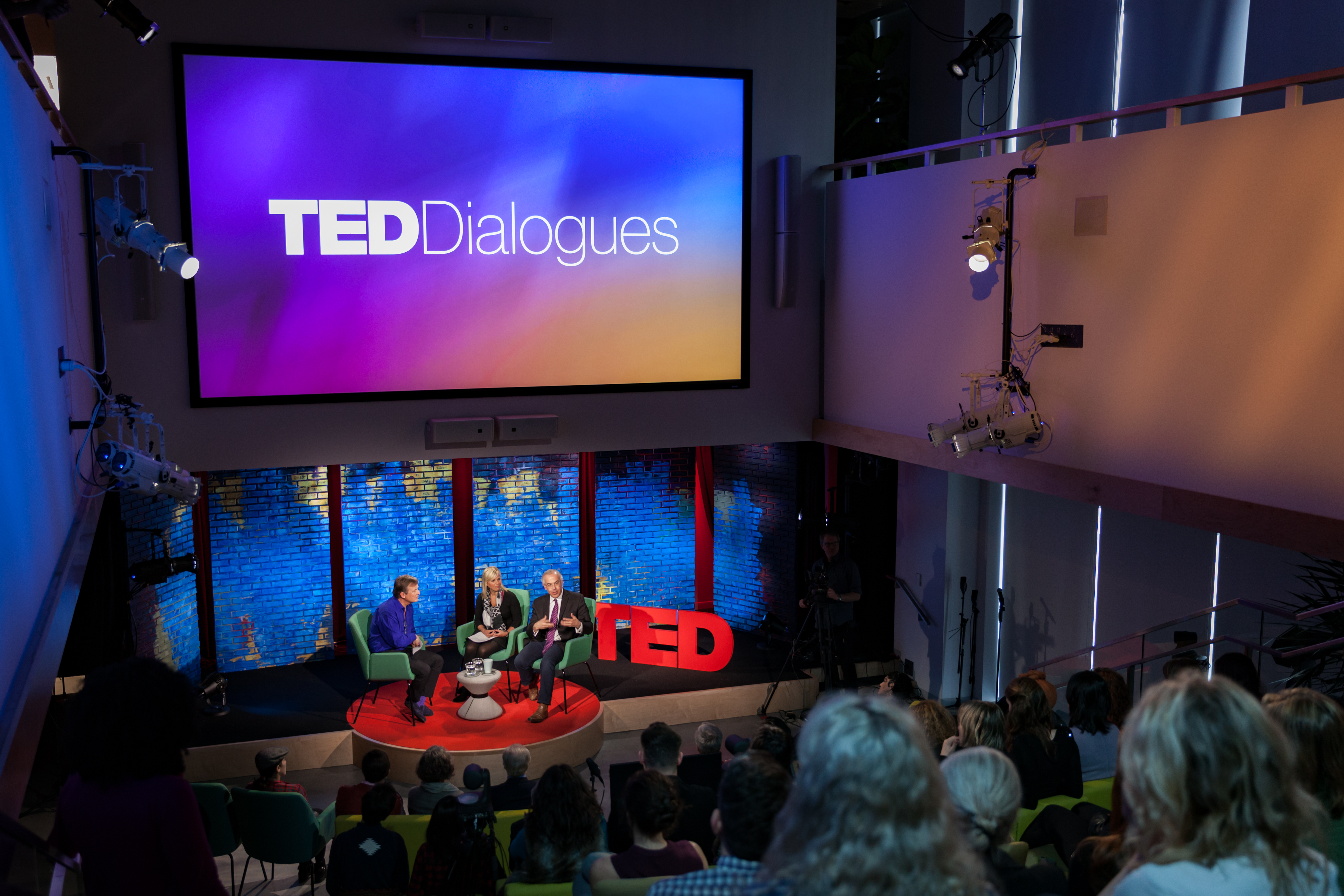 (L-R) TED Curator Chris Anderson speaks with Gretchen Carlson and David Brooks at TED Dialogues via Facebook Live, March 01, 2017, New York, NY. Photo: Dian Lofton / TED