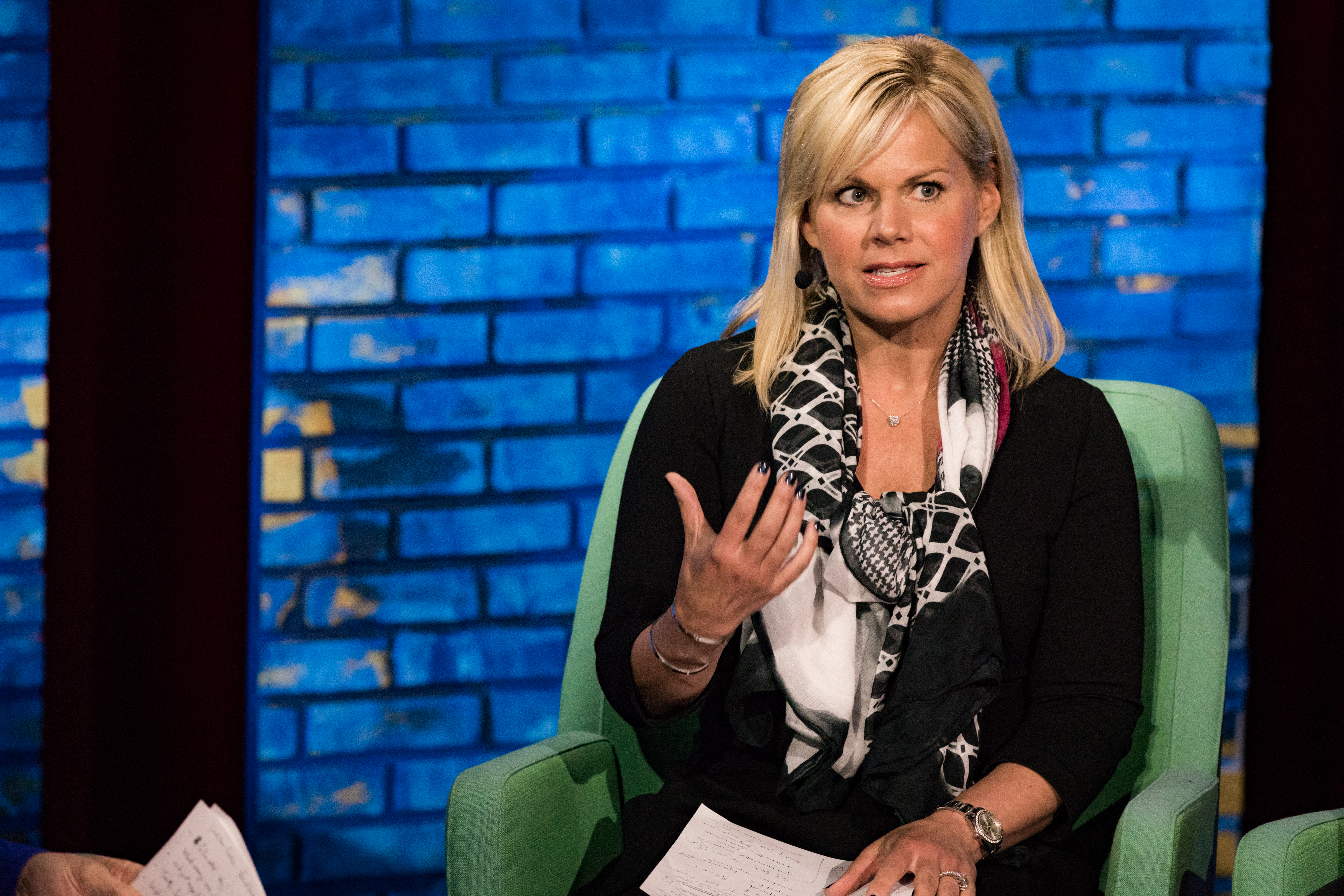 Gretchen Carlson speaks at TED Dialogues via Facebook Live, March 01, 2017, New York, NY. Photo: Jasmina Tomic / TED
