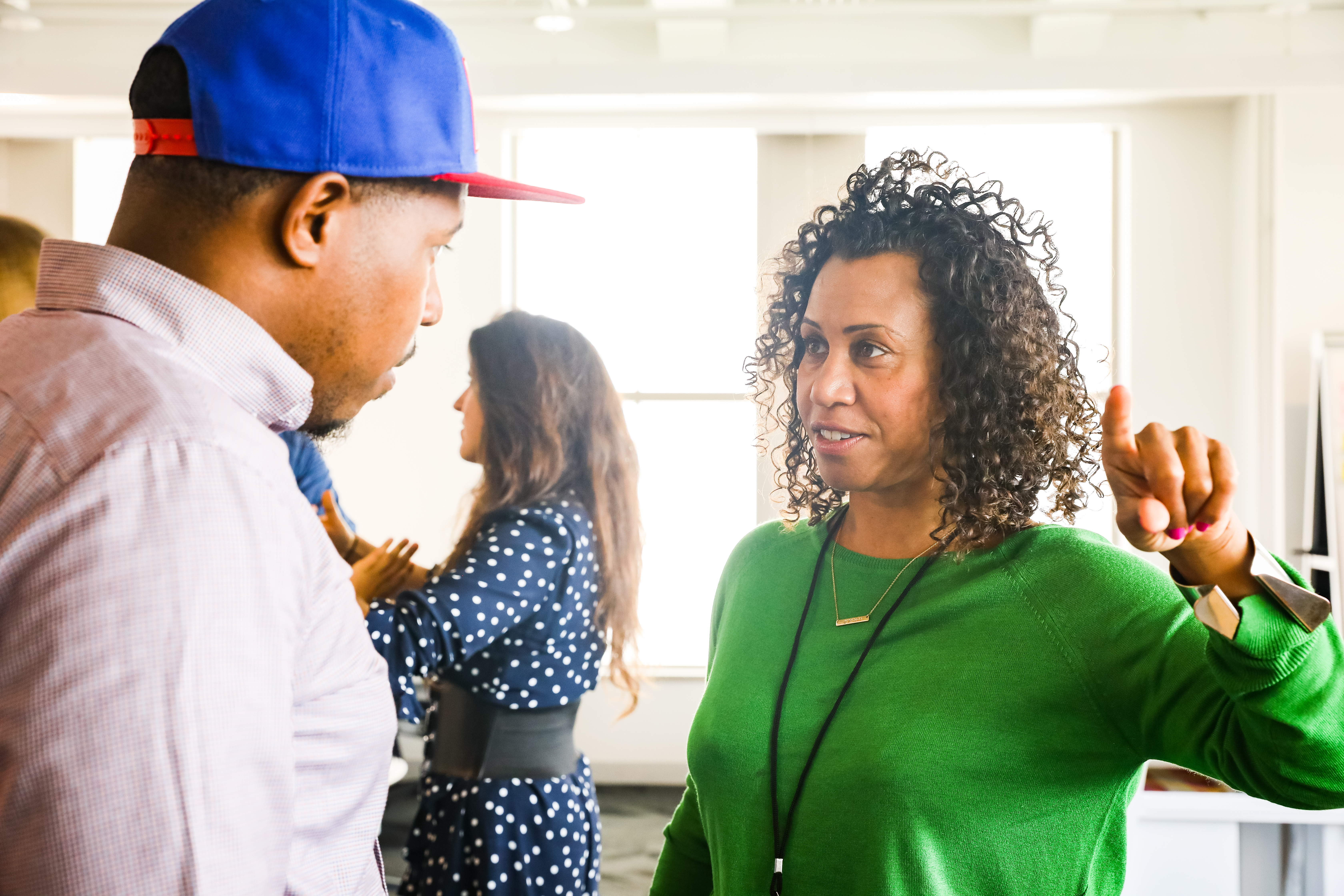 """Here, two new Residents, """"chief reading inspirer"""" Alvin Irby and filmmaker Karen Palmer, meet at the TED office on September 11, 2017, in New York."""