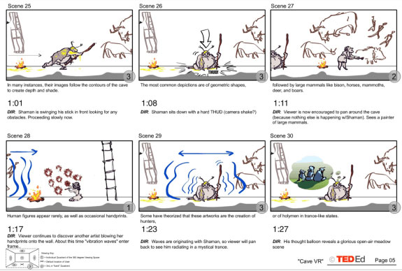 Storyboards for the 'Mid-Cave' Shaman sequence.